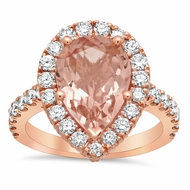 Morganite Pear Pave Halo Engagement Ring