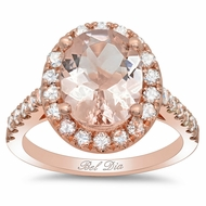 Morganite Rose Gold Art Deco Engagement Ring
