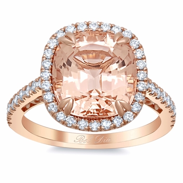 Morganite Rose Gold Halo Engagement Ring with Floral Basket - click to enlarge