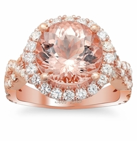 Morganite Rose Gold Halo Engagement Ring with Twisted Split Shank