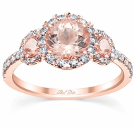 Morganite Rose Gold Halo Three Stone Ring