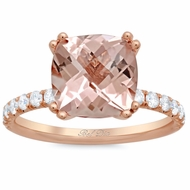 Morganite Square Pave Engagement Ring