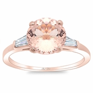 Morganite Three Stone Engagement Ring with Baguettes