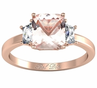 Morganite Three Stone Engagement Ring with Trapezoids