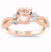 Morganite Vine Twisted Rose Gold Engagement Ring with Marquise Diamonds