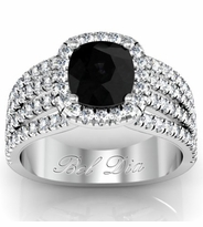 Multi-Band Black Diamond Engagement Ring