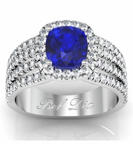 Multi-Band Blue Sapphire Engagement Ring