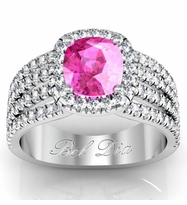 Multi-Band Pink Sapphire Engagement Ring