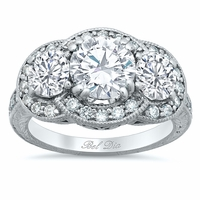 Ornate Three Stone Engagement Ring with Milgrain and Hand Engraving