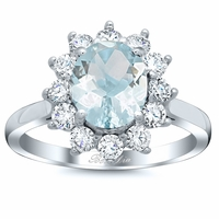 Oval Aquamarine Floral Halo Diamond Engagement Ring