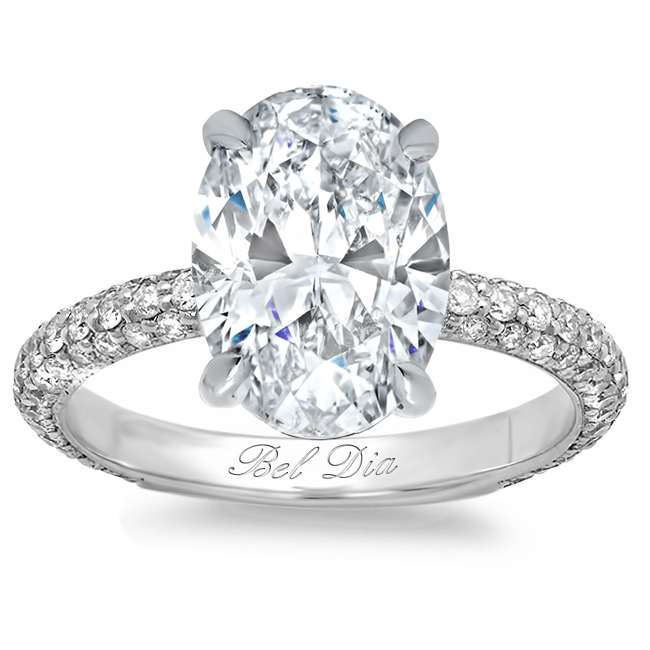 Oval Diamond Engagement Ring with Domed Pave Band - click to enlarge