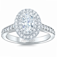 Oval Double Halo Pave Banded Engagement Ring