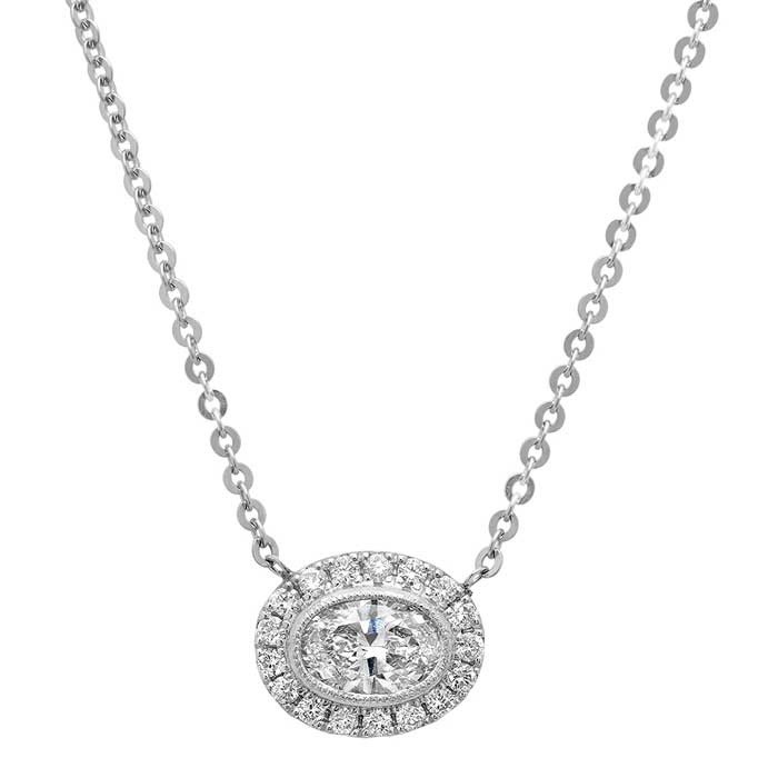 Oval Forever One Moissanite East West Halo Necklace