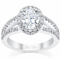 Oval Halo Engagement Ring Split Band