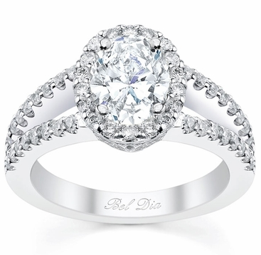 Oval Halo Engagement Ring Split Band - click to enlarge