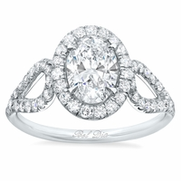 Oval Halo Engagement Ring with Looped Shank