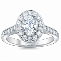 Oval Halo Pave Engagement Ring Setting