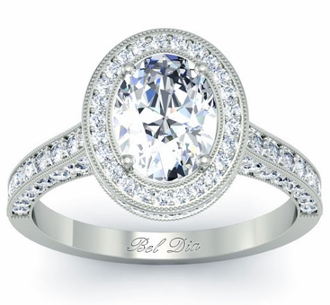 Oval or Round Diamond Halo Setting with Pave Diamonds - click to enlarge