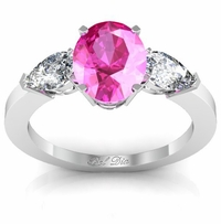 Oval Pink Sapphire Three Stone Engagement Ring