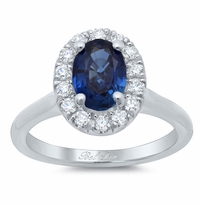 Oval Sapphire Halo Engagement Ring with Plain Band