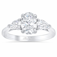 Oval Three Stone Ring with Pears