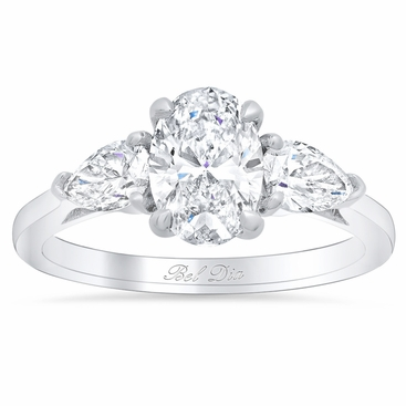 Oval Three Stone Ring with Pears - click to enlarge