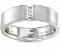 Palladium Men's Ring Brilliant Round Diamonds