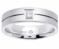 Palladium Wedding Band Mens 6mm Diamonds