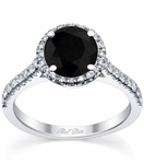 Pave Accented Black Diamond Halo
