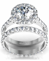 Pave Accented Halo and Wedding Band