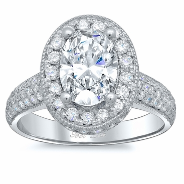 Pave Accented Oval Halo with Milgrain - click to enlarge