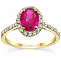 Pave Accented Oval Pink Sapphire Halo