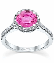 Pave Accented Pink Sapphire Halo