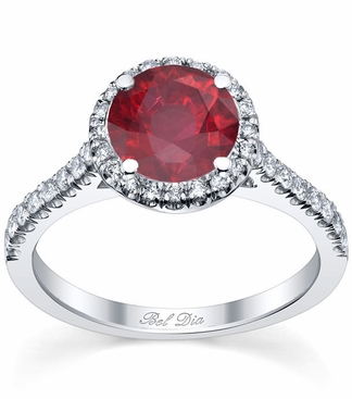 Pave Accented Ruby Halo - click to enlarge