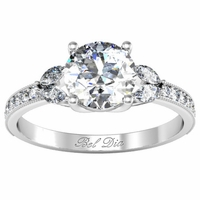 Pave and Milgrained Engagement Ring with Nature Inspired Accents