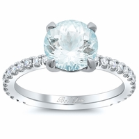 Pave Diamond Aquamarine Engagement Ring