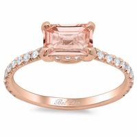 Pave Diamond East-West Emerald Morganite Engagement Ring