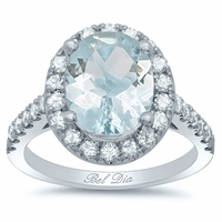 Pave Diamond Oval Halo Engagement Ring for Aquamarine