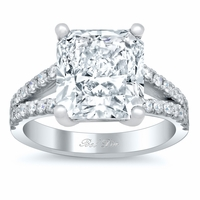Pave Diamond Split Shank Engagement Ring