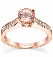 Pave Morganite Engagement Ring with Milgrain