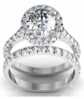 Pave Oval Halo Engagement Ring and Wedding Band