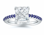 Pave Sapphire Accented Engagement Ring