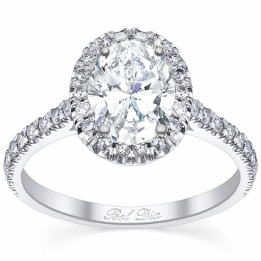 Pave Setting Oval Diamond Halo Engagement Ring - click to enlarge