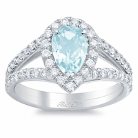Pear Aquamarine Pave Diamond Split Shank Halo Engagement Ring