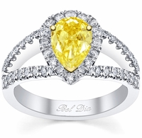 Pear Canary Yellow Diamond Engagement Ring