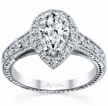 Pear Halo Engagement Ring - click to enlarge