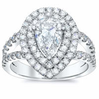 Pear Low Split Double Halo Engagement Ring