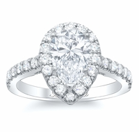 Pear Pave Halo Engagement Ring