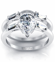 Pear Three Stone Engagement Ring with Matching Band