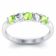 Peridot and Diamond Five Stone Ring